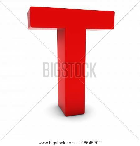 Red 3D Uppercase Letter T Isolated On White With Shadows