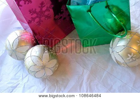 Christmas Bags And Ornaments On White Background
