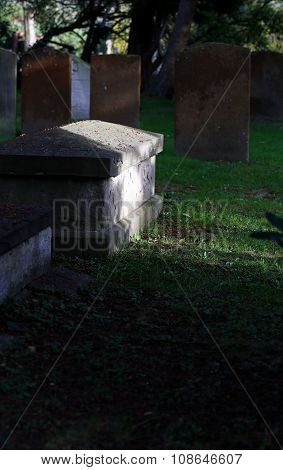 Old Graves And Tombs In An English Cemetery