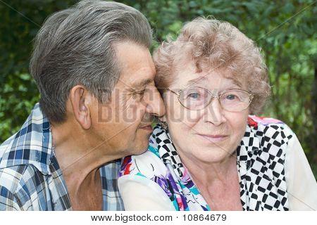 tatsächliche Freude älterer Menschen umarmt im park