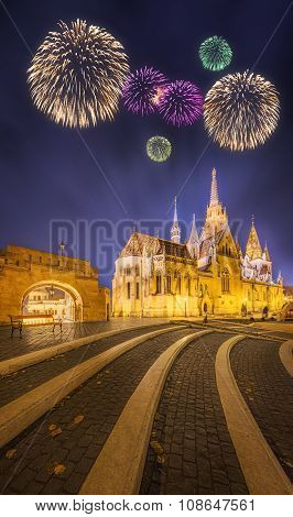Beautiful Fireworks Under Fishermen's Bastion In Budapest