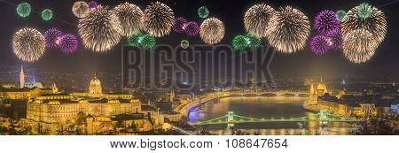 Beautiful Fireworks Under And Cityscape Of Budapest