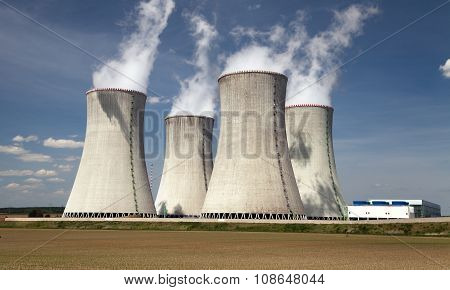 Nuclear Power Plant And Cooling Towers