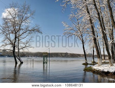 River Water Trees Snow
