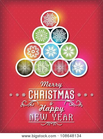 Red Christmas Card With Snowflakes And Greeting Text, Vector