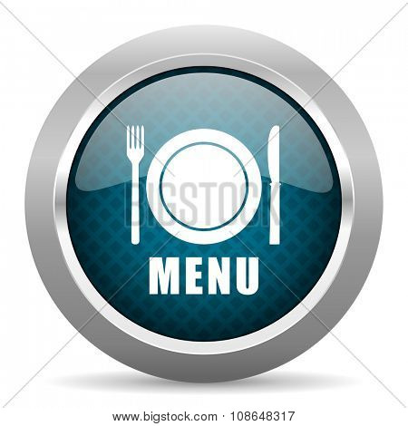 menu blue silver chrome border icon on white background