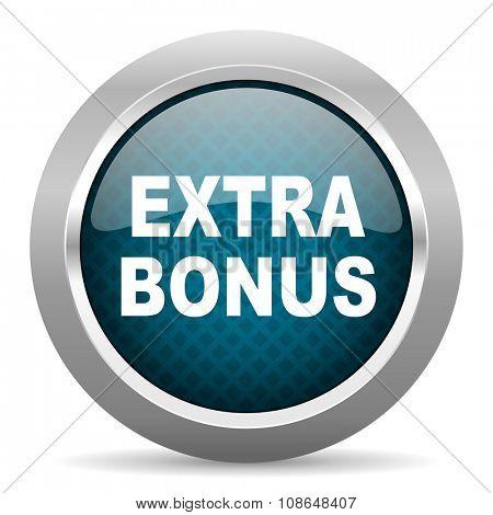 extra bonus blue silver chrome border icon on white background
