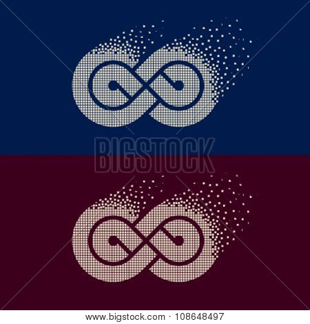 vector abstract flying pixel eternity emblem