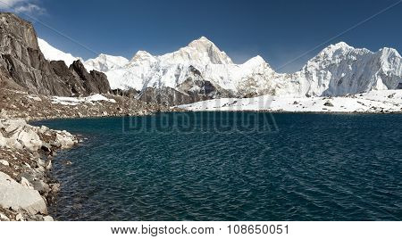 Mount Makalu Above Lake Near Kongma La Pass
