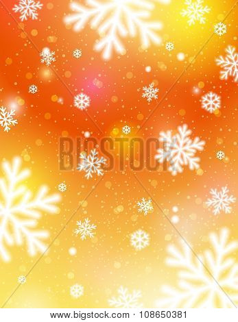 Golden Background With Bokeh And Blurred Snowflakes, Vector