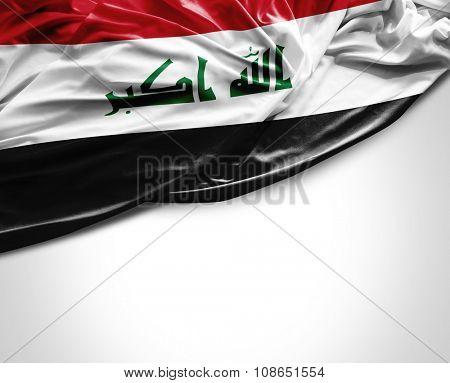 Iraq waving flag on white background