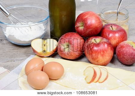 Ingredients For Apple Pie, With Flour And Ciders