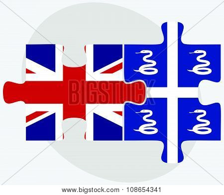 United Kingdom And Martinique Flags