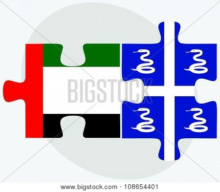 United Arab Emirates And Martinique Flags