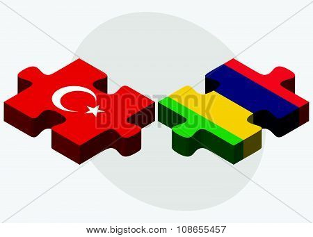 Turkey And Mauritius Flags
