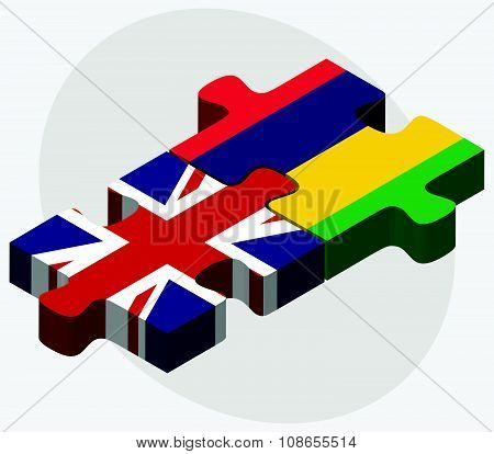 United Kingdom And Mauritius Flags