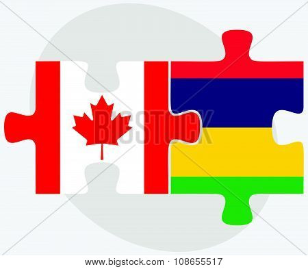 Canada And Mauritius Flags