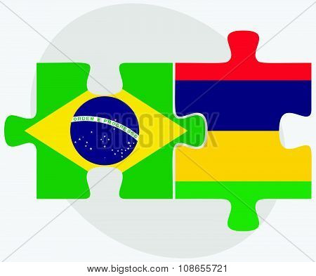Brazil And Mauritius Flags