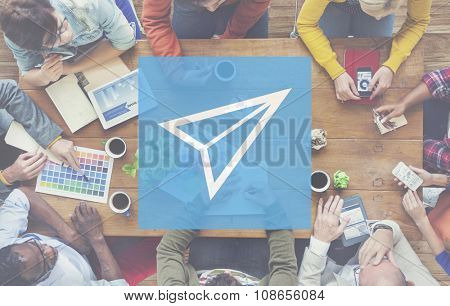Paper Plane Sent Fly Voyage Concept