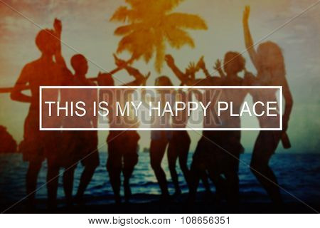 Summer Beach Happy Place Holiday Vacation Concept