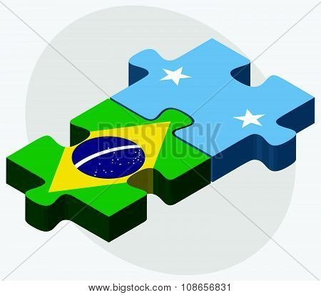 Brazil And Micronesia Flags