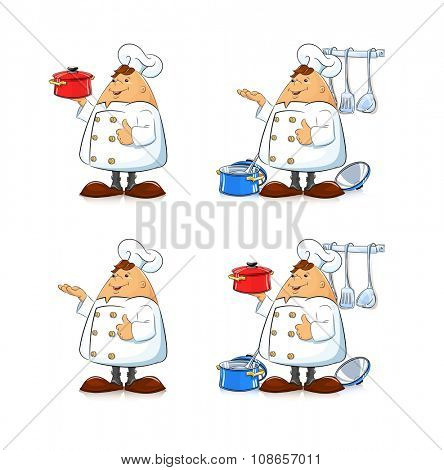 Cook with pan and tableware. Eps8 vector illustration. Isolated on white background