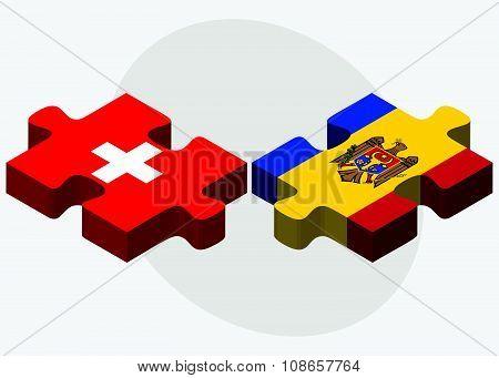 Switzerland And Moldova Flags