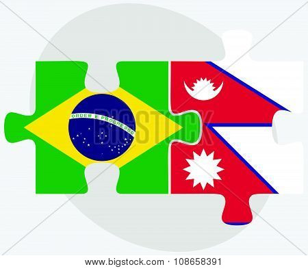 Brazil And Nepal Flags