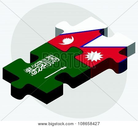 Saudi Arabia And Nepal Flags