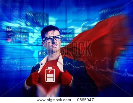 Battery Strong Superhero Success Professional Empowerment Stock Concept