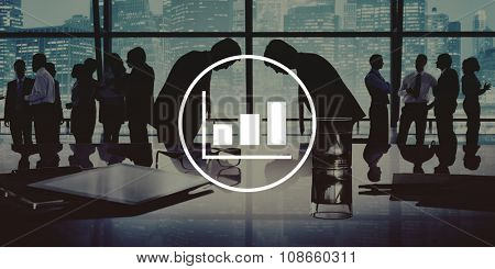 Business People Bowing Discussion Communication Cityscape Meeting Concept