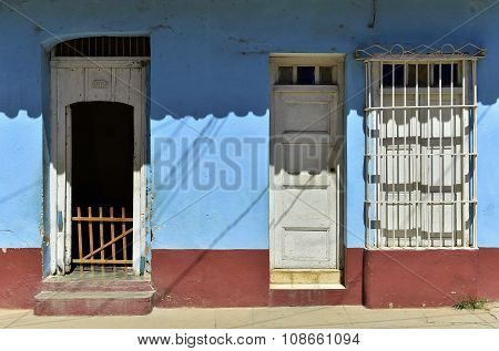 Windows, Doors, Walls . Colorful Elements Of Traditional Houses In The Colonial Town Of Trinidad In