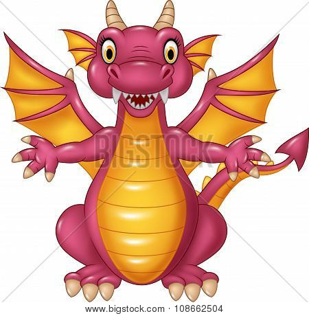 Cartoon funny dragon isolated on white background