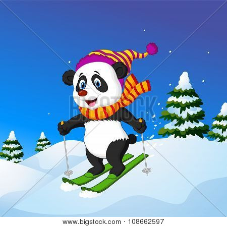 Cartoon panda skiing down a mountain slope