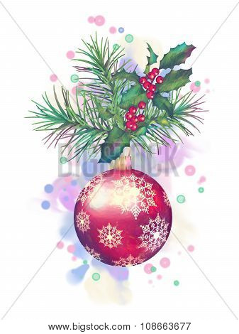 Watercolor Painting Christmas Decorations