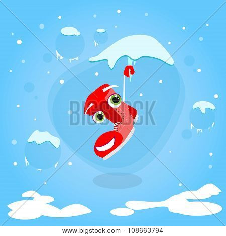 Santa Boots Hang on Icicle Cartoon Christmas Character Smile Face Concept Blue Snow Background Flat