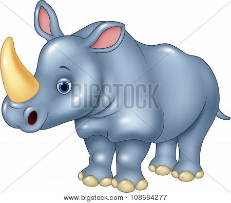 Cartoon funny rhinoceros Isolated on white background