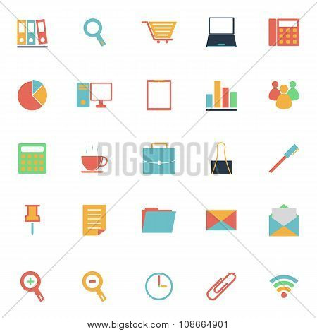 Office Color Icons On White Background