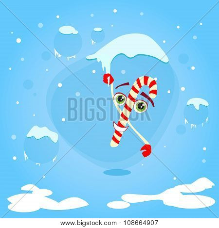 Christmas Candy Stick Cartoon Character Hang on Icicle Concept