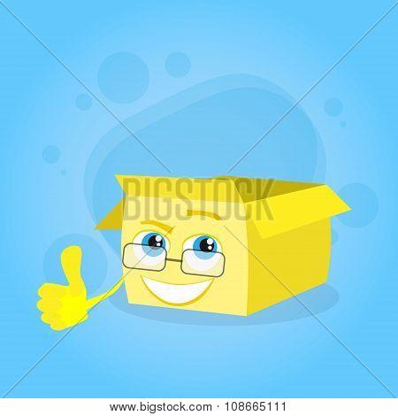 Cardboard Box Thumb up Hand Finger Gesture Yellow Cartoon