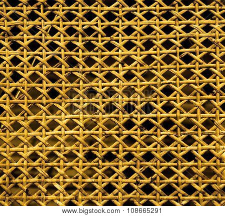 Texture Of Yellow Lacquered Wicker Wood