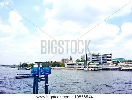 Bangkok Thailand May 17,2015 : The Landscape Of Bangkok City And Chao Phraya River