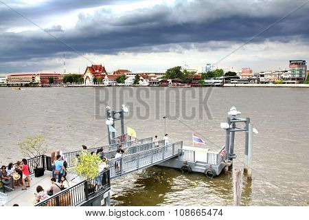 Bangkok, Thailand - May 17, 2015: A Pier For Traveling Along Chao Phraya River