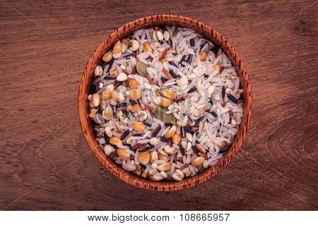 Mixed Whole Grain Traditional Thai Rice In The Spoon And Bowl Best Rice For Healthy And Clean Food O