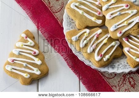 Decorated Christmas Tree Cookies on a Plate