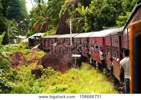 COLOMBO, SRI LANKA - JUNE 5, 2007: riding by train the scenic mountain track from Nuwarelia to Colombo