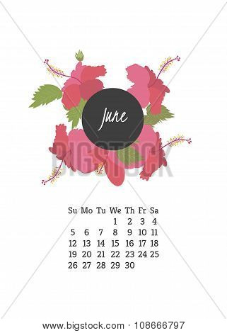 Calendar for 2016 with flowers  hibiscus