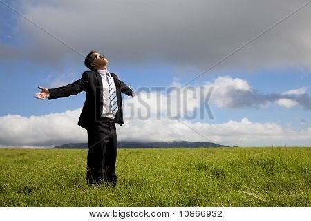 Relaxation businessman standing on the meadow