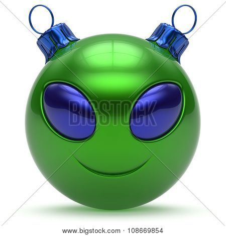 Christmas Ball Smiley Alien Face Happy New Year Bauble Green