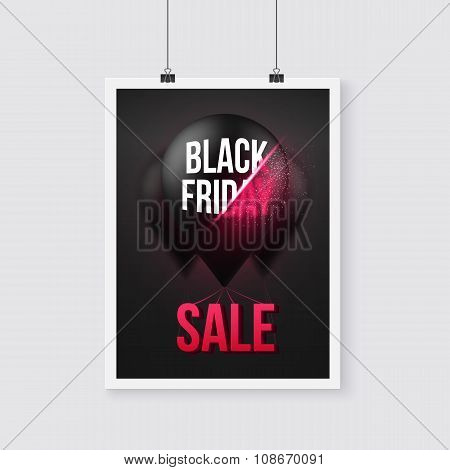 Black Friday Sale Poster Air Balloon Template with Explosion